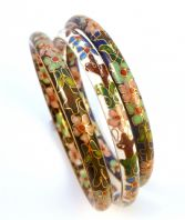 Set Of Three Vintage Cloisonne Enamel Bangles.